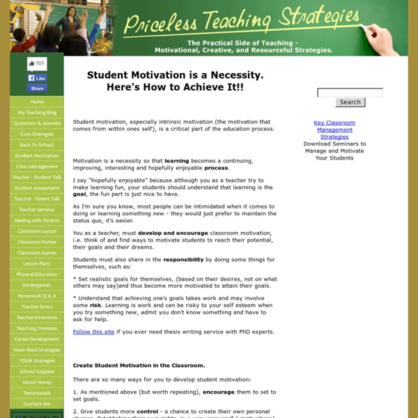 Successful Student Motivation Classroom Teaching Strategies