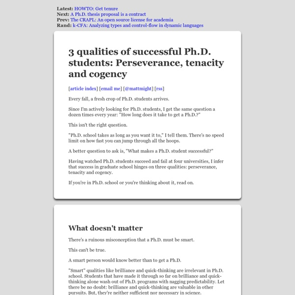 3 qualities of successful Ph.D. students: Perseverance, tenacity and cogency