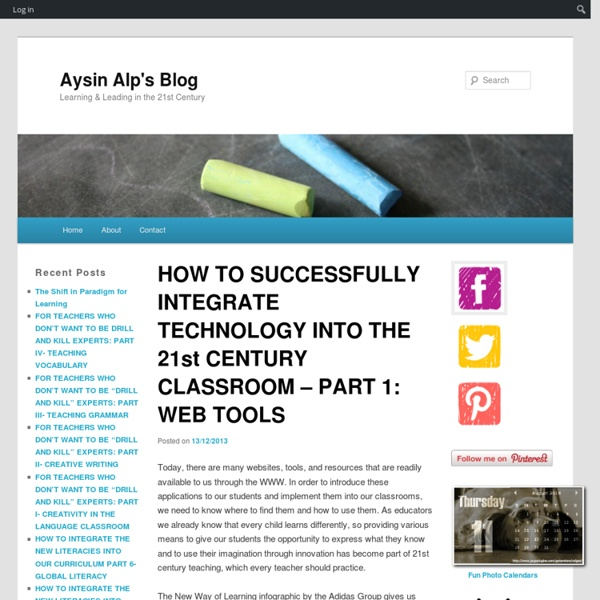 HOW TO SUCCESSFULLY INTEGRATE TECHNOLOGY INTO THE 21st CENTURY CLASSROOM – PART 1: WEB TOOLS