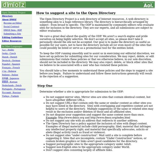Sugerindo um site à Open Directory Project