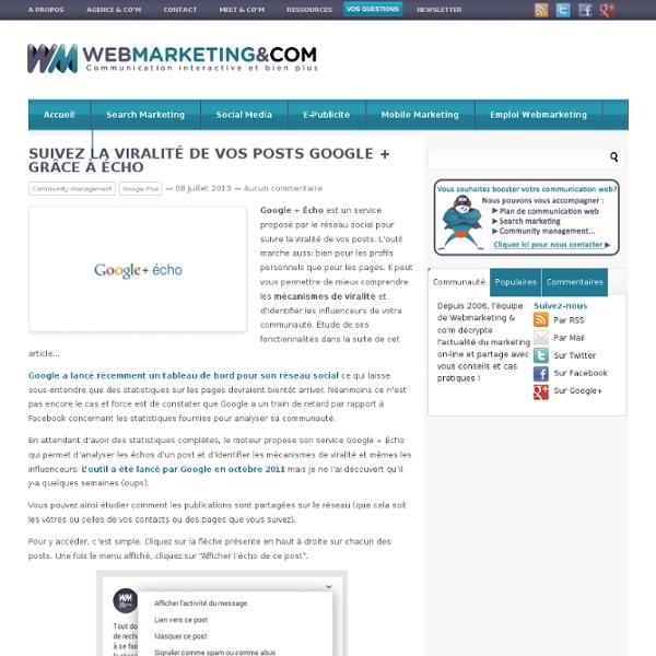 Suivez la viralité de vos posts Google + grâce à Écho