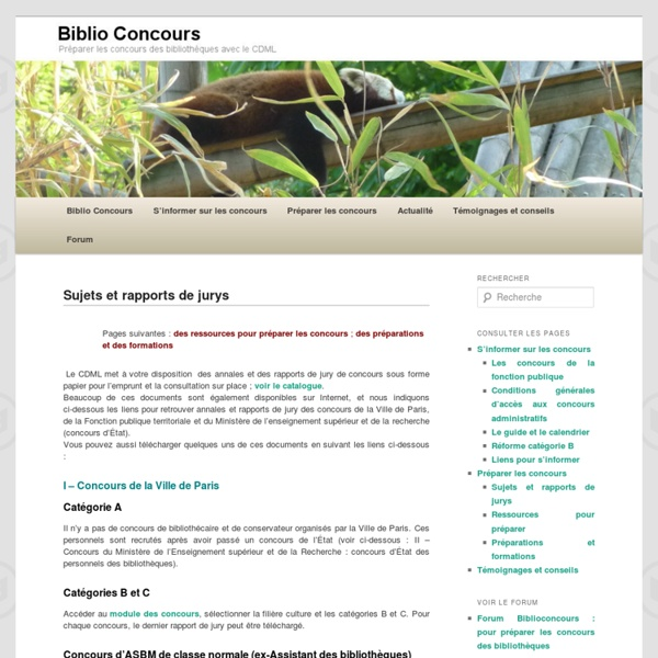 Biblio Concours : sujets annales