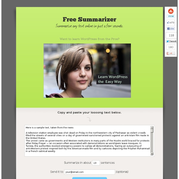Free Summarizer, an online automatic tool to summarize any text or article