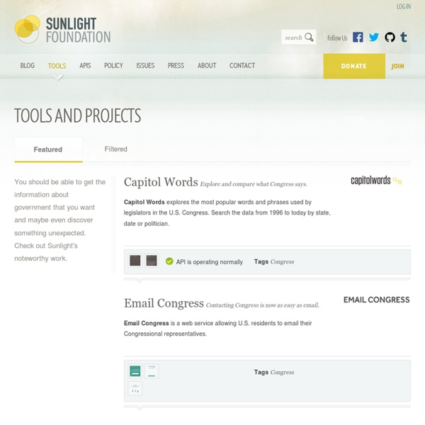 Sunlight Foundation Tools and Projects