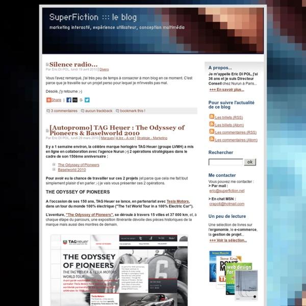 Marketing interactif, experience utilisateur, conception multimedia et gestion de projets