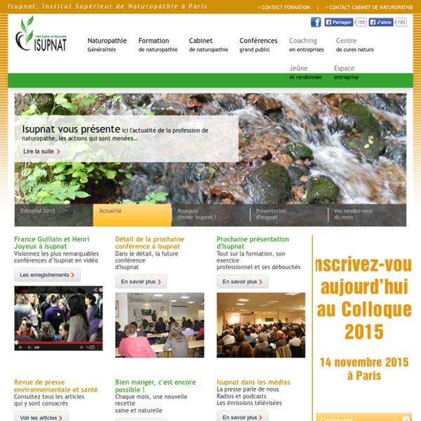 Isupnat, institut supérieur de naturopathie agréé Fenahman, à Paris. Formation semaine, week-end ou continue.