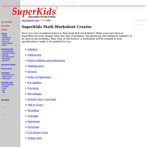 Math Worksheet Creator – Superkids Math Worksheet Creator