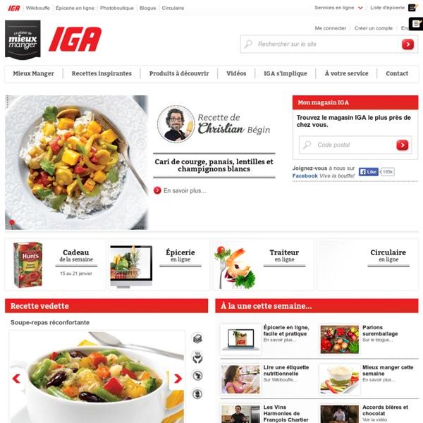 Supermarchés IGA du Québec : Recettes, épicerie, circulaire