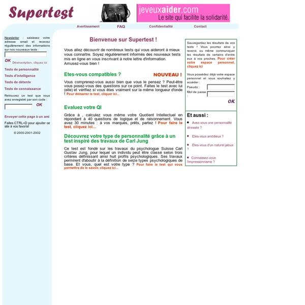 Supertest : le site de tous les tests et quizz