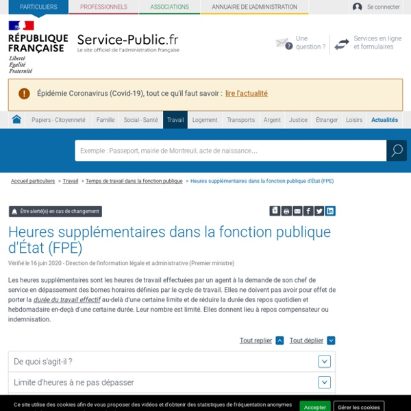 Heures supplémentaires dans la fonction publique d'État (FPE)