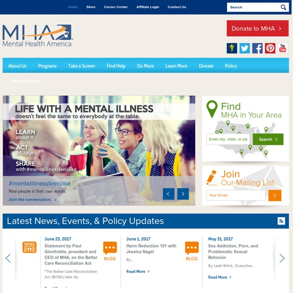 Mental Health America: Children's Mental Health: Resource List