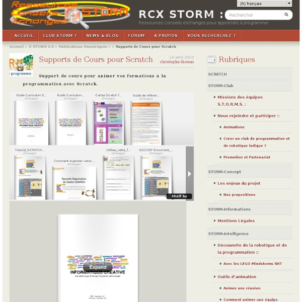 Supports de Cours pour Scratch, par Christophe THOMAS - RCX STORM