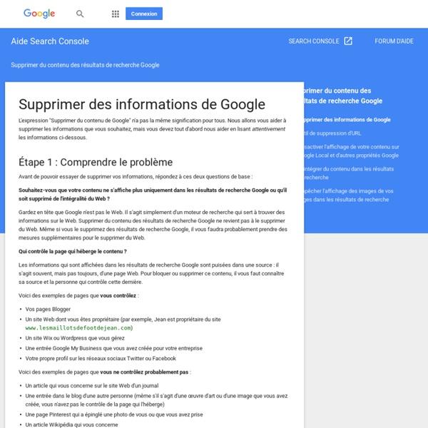 Supprimer des informations de Google - Aide Search Console
