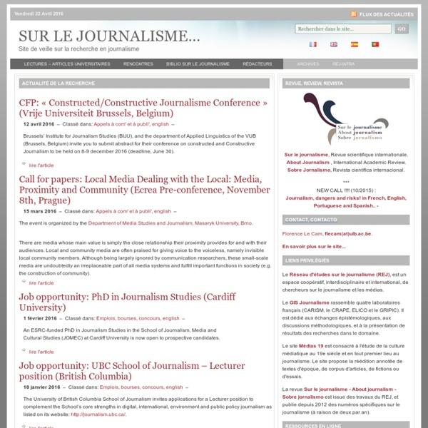 Veille sur la recherche en journalisme