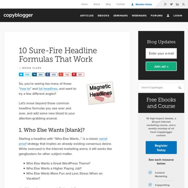 10 Sure-Fire Headline Formulas That Work