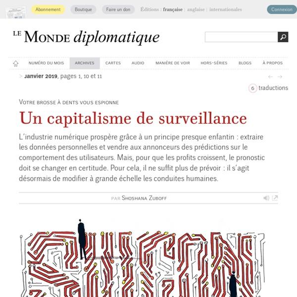 Un capitalisme de surveillance, par Shoshana Zuboff (Le Monde diplomatique, janvier 2019)