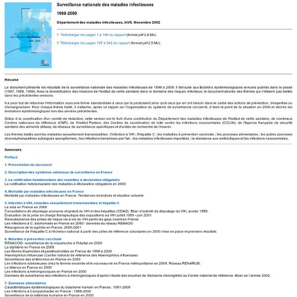 INVS 18/02/03 Parution du rapport sur la surveillance nationale des maladies infectieuses (1998-2000) ; AU SOMMAIRE : La dengue