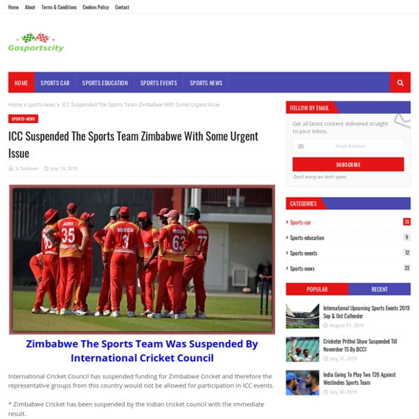 ICC Suspended The Sports Team Zimbabwe With Some Urgent Issue
