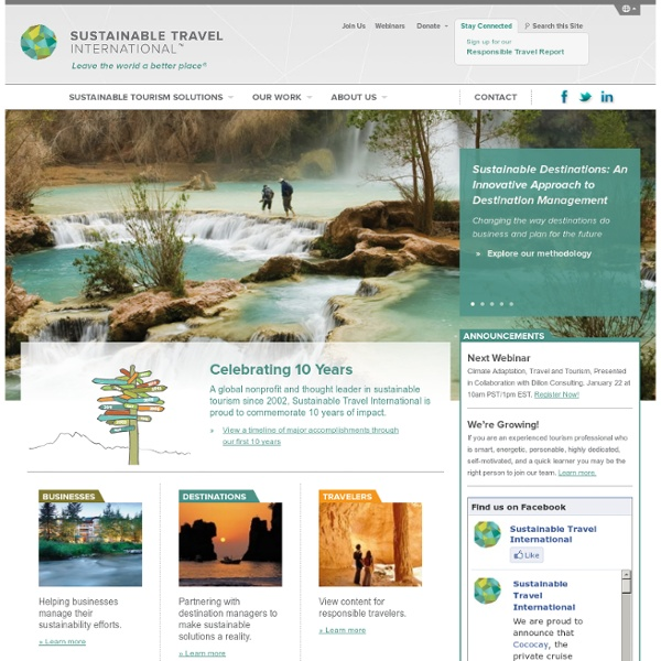Ecotourism, Responsible Travel and Sustainable Tourism information and resources