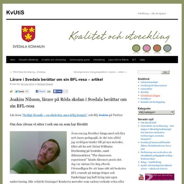Lärare i Svedala berättar om sin BFL-resa – artikel