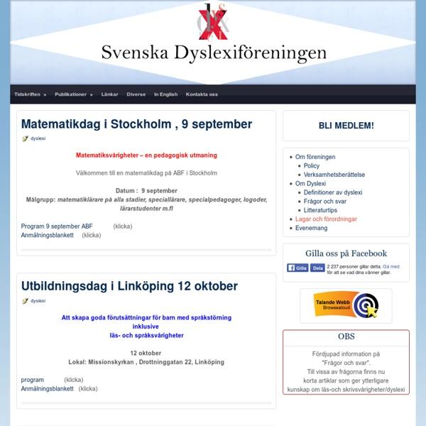 Välkommen till Svenska Dyslexiföreningen!