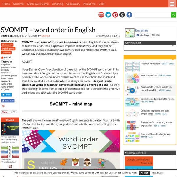 SVOMPT – word order in English | Pearltrees