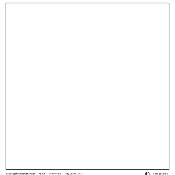 Scattergories List Generator