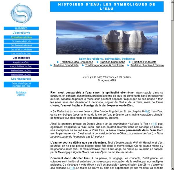 Histoires d'eau: les symboliques de l'eau dans les différentes cultures et religions