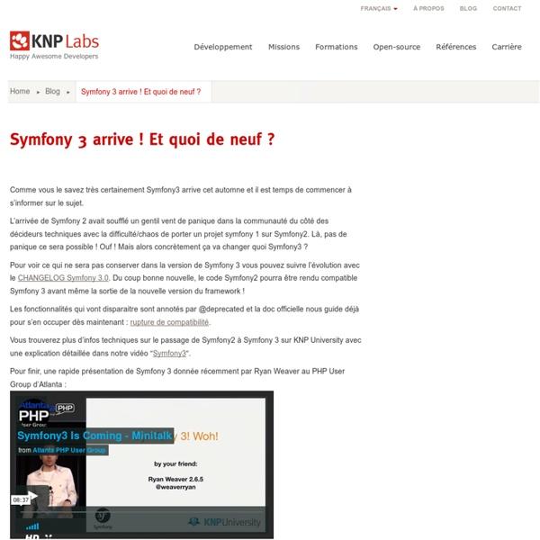 Symfony 3 arrive ! Et quoi de neuf ?