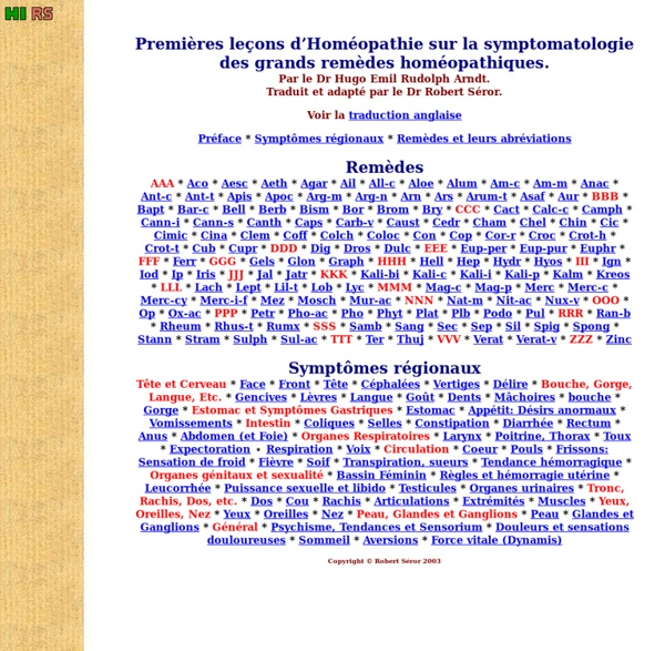 Symtomatologie en homeo