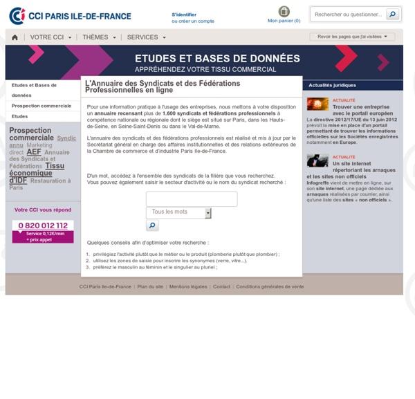 Annuaire des syndicats professionnels français - Liste des syndicats professionnels