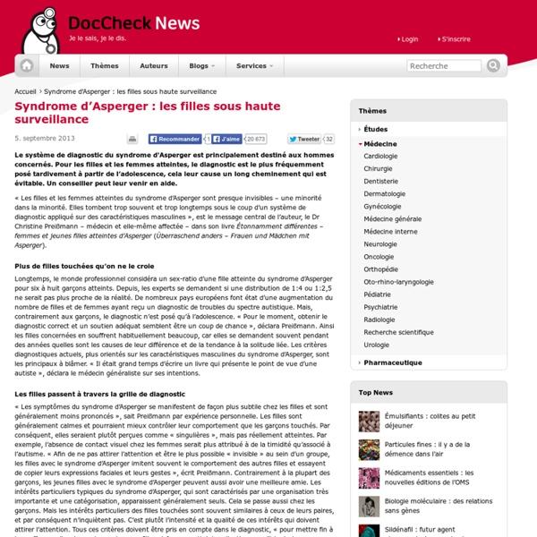 Syndrome d'Asperger : les filles sous haute surveillance