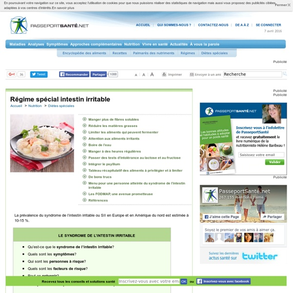 Syndrome de l'intestin irritable (côlon irritable) : quoi manger ?