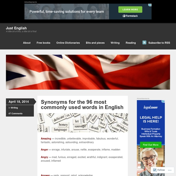 Synonyms for the 96 most commonly used words in English