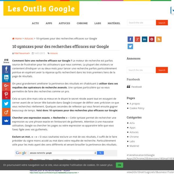 10 syntaxes pour des recherches efficaces sur Google