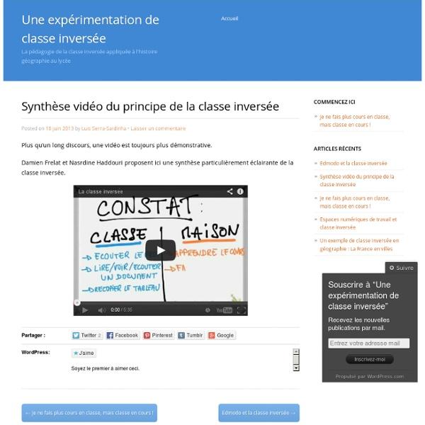 Synthèse vidéo du principe de la classe inversée