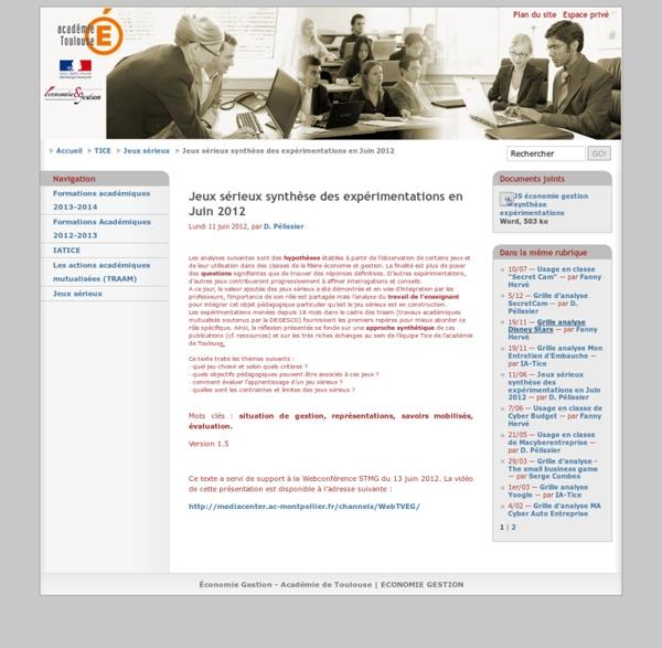 Jeux sérieux synthèse des expérimentations en Juin 2012 - Académie-Toulouse