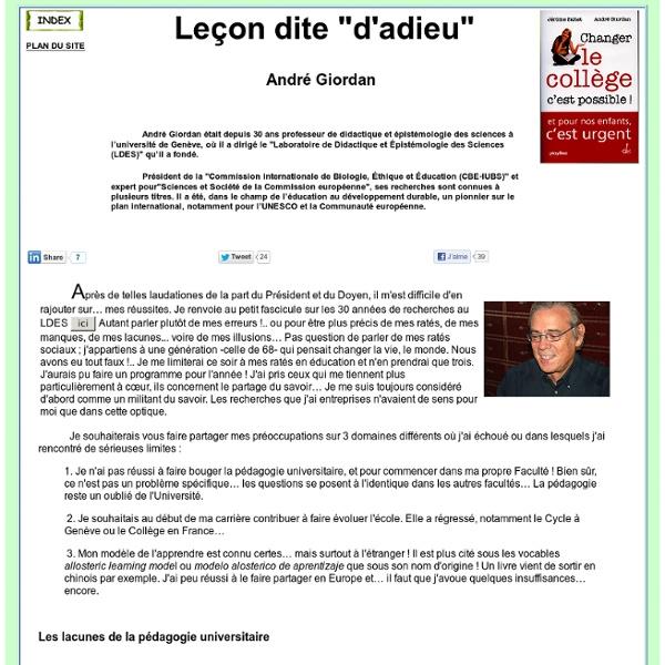 Synthèse des recherches d'André GIORDAN
