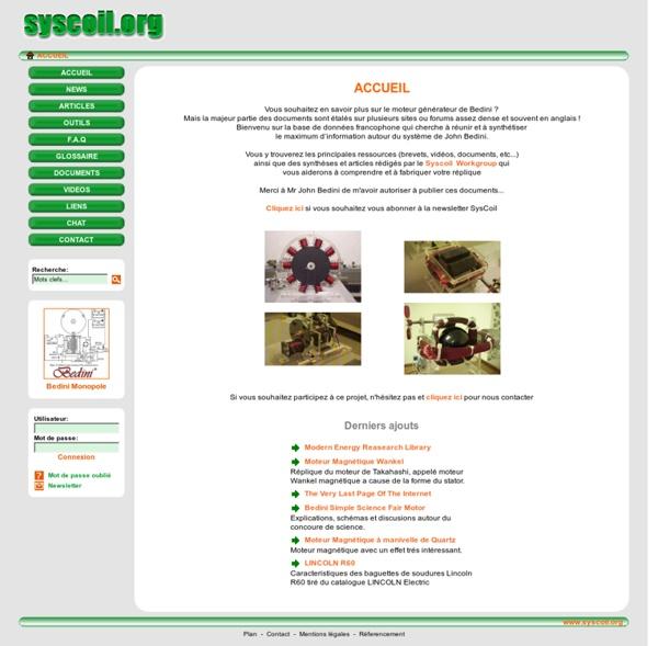 SysCoil.org - Moteur Générateur de Bedini - ACCUEIL