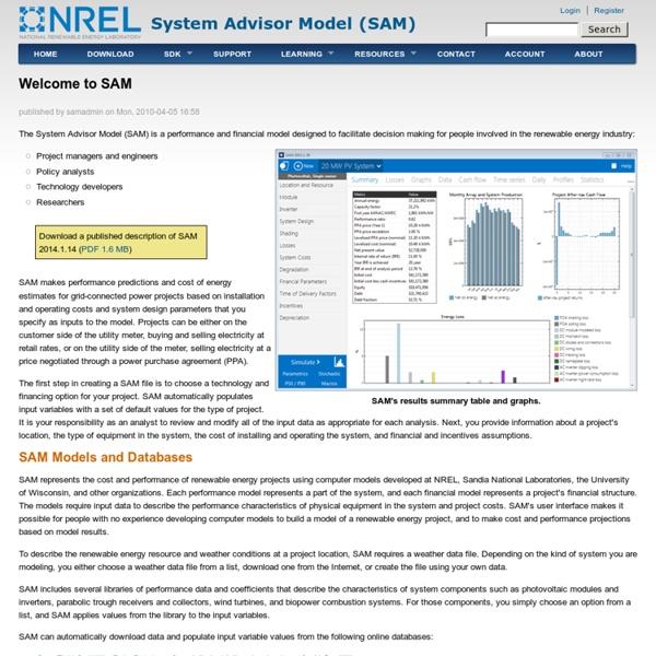 System Advisor Model (SAM)