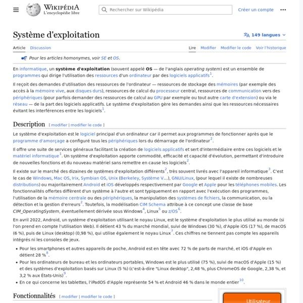 Système d'exploitation - OS - Operating system