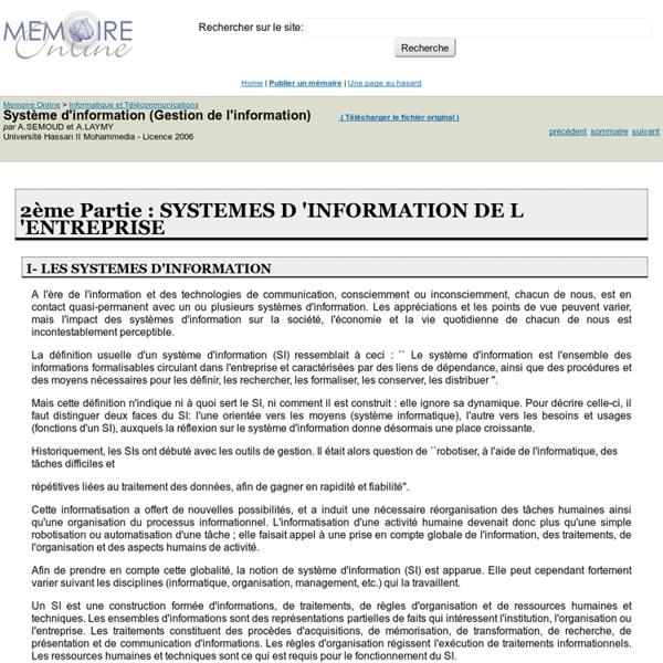 Système d'information (Gestion de l'information) - A.SEMOUD et A.LAYMY