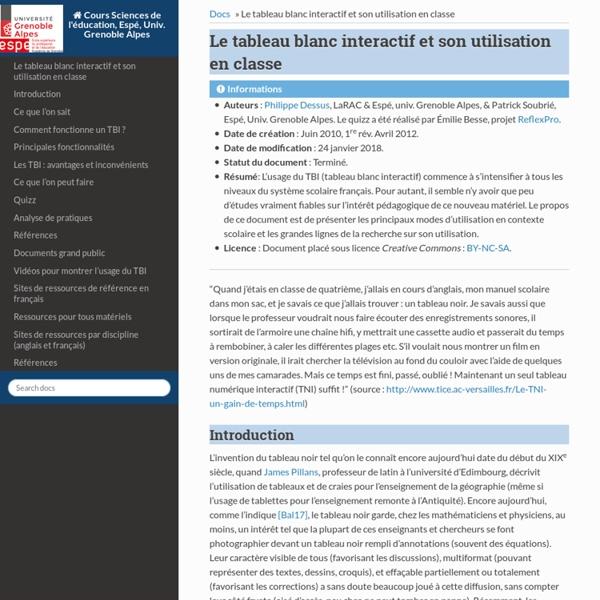 Le tableau blanc interactif et son utilisation en classe — Documents SAPP Espé-UJF, Univ. Grenoble Alpes 1.0 documentation