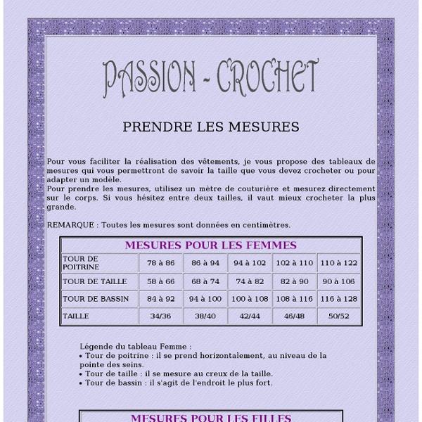 Tableau de mesures pour faire des vêtements au crochet
