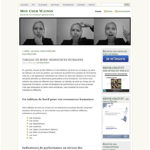 TABLEAU DE BORD: RESSOURCES HUMAINES