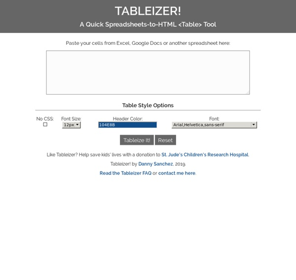 Spreadsheets to HTML Tables Tool