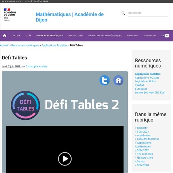 Défi Tables. Mathématiques