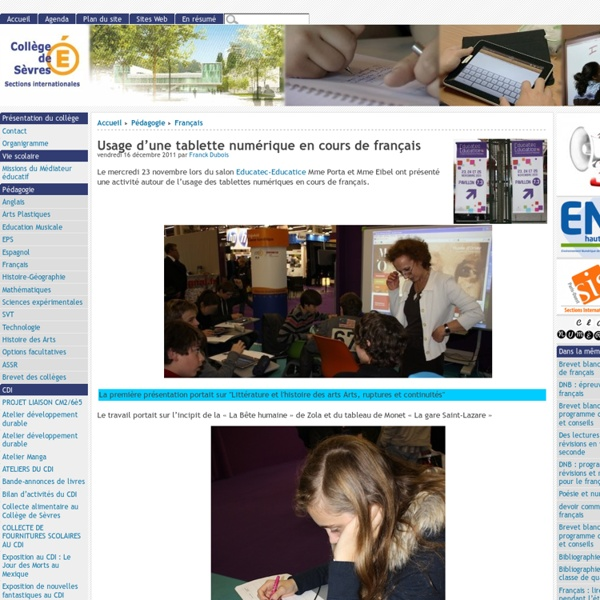 Usage d'une tablette numérique en cours de français - [Collège de Sèvres]