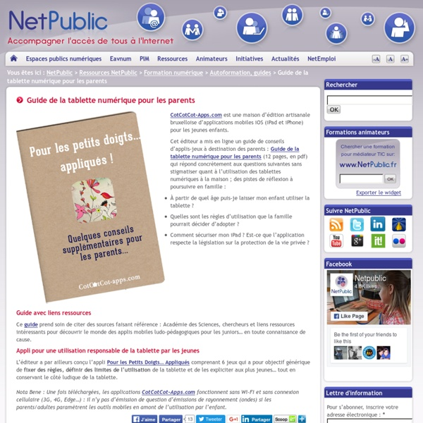 Guide de la tablette numérique pour les parents