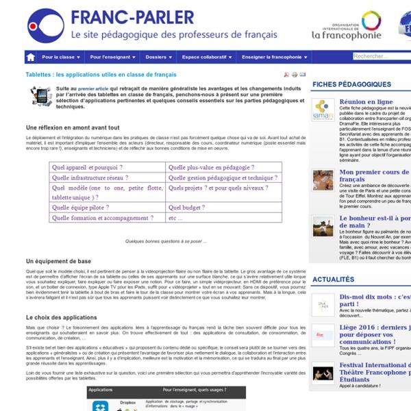 Tablettes : les applications utiles en classe de français